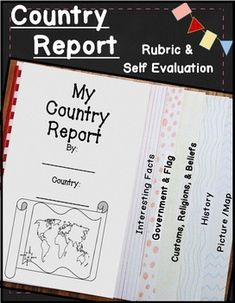 Create a 6 page ~ flip book style ~ unique country report project! Included: Country report directions, country report blacklines, country report rubric, and the country report student self evaluation. 3rd Grade Social Studies, Teaching Social Studies, Teaching Resources, Teaching Ideas, Teaching History, Country Report Project, Student Self Evaluation, Summer School Activities, Summary Writing