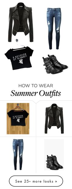 """My First Polyvore Outfit"" by kaitlynpierce-1 on Polyvore featuring AG Adriano Goldschmied and MANGO"