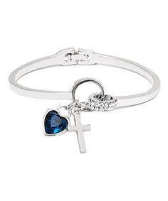 Look at this #zulilyfind! Blue Crystal Cross Bangle Made With SWAROVSKI ELEMENTS…