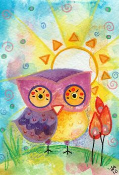 Morning, Sunshine - Original Painting Owl watercolor. $35.00, via Etsy.