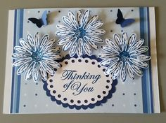Thinking of You Card designed by Sandy using Stampin Up Daisy Delight stamp set, inks and punches with other paper craft supplies.