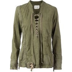 Greg Lauren lace-up distressed shirt (16,500 MXN) ❤ liked on Polyvore featuring green and greg lauren