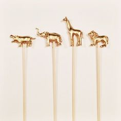 Gold Animal Kabob/Skewer/Drink Stirrer/Cake Topper - #animal #drink #kabob #skewer #stirrer #topper - #HippoCake