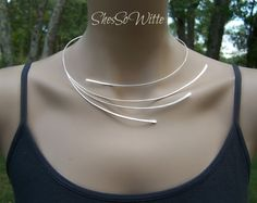 Sterling Silver Torc Collar Torque Necklace by ShesSoWitte on Etsy - Trave . - Sterling Silver Torc Collar Torque Necklace by ShesSoWitte on Etsy – traver, - Hair Jewelry, Jewelry Art, Jewelry Accessories, Jewelry Necklaces, Jewelry Design, Fashion Jewelry, Bracelets, Wire Necklace, Collar Necklace