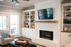 Shiplap wall and fireplace home pinterest cas the o for Home decor 91304