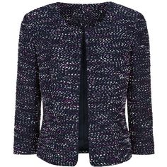 Precis Petite Boucle Jacket, Multi Blue (4.190 RUB) ❤ liked on Polyvore featuring outerwear, jackets, petite, navy short jacket, collarless jackets, petite boucle jacket, navy blue short jacket and petite jackets