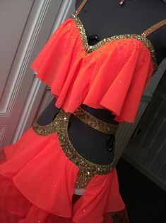 flame red latin dress