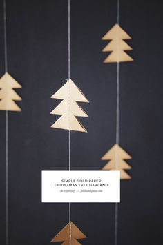 Fiddle and Spoon | DIY: Simple Gold Paper Christmas Tree Garland | http://fiddleandspoon.com