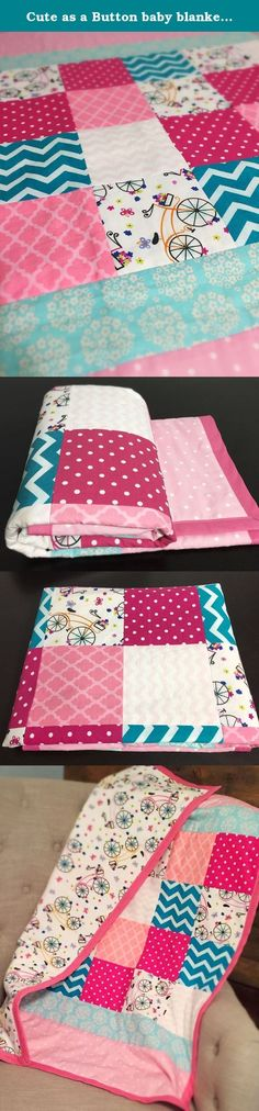 Cute as a Button baby blanket - Pink and turquoise baby girl Bicycle Quilt. This adorable bicycle theme quilt is perfect for your baby girl. You will fall in love with the floral bicycle print that is used in the patchwork design on the front, and seen on the flannel back. The modern chevron, polka dot and tile patterns add to the charm. This quilt will elevate your baby's decor in their crib from simply having sheets to having bedding. It is perfect as a baby or toddler lap blanket, play...