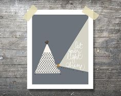 Let Your Light Shine Teepee Printable Art 8x10 by onethreechickpea, $7.00