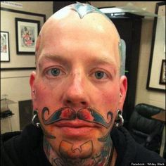 """Whitey Black explained his tattoo saying """"the comical aspect is that 'nothing says classy like a gentleman with a well groomed mustache'… and believe me I am not classy and far from being a gentleman!"""" Probably no argument there."""