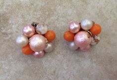 Vintage Orange, Cream and Peach Cluster Clip On Earring From Japan on Etsy, $8.00