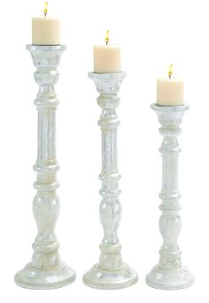 """Wooden Candle Holder with Carved Detailing 24"""" H(Set of 3)"""