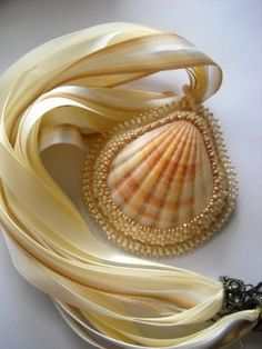 Shell Beaded Pendant with Muli-Ribbon Necklace and Extender Clasp