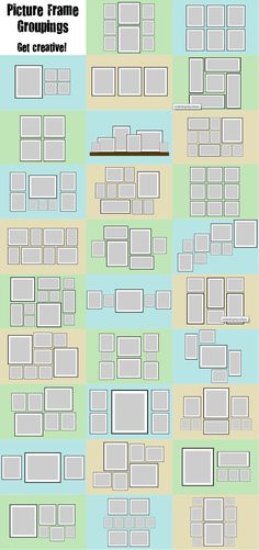 Picture frame grouping ideas - gonna come in handy for my gallery wall!!!