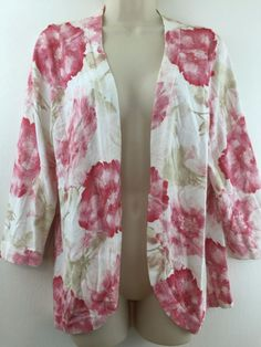 Chicos 1 Pink & Beige Floral Open Cardigan Sweater Soft Cotton Blend S/M 8/10 #Chicos #Cardigan