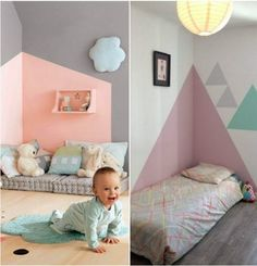 Draw on the wall a headboard in house painting in the nursery girl for a geometric pattern Scandinavian style in triangle rnrnSource by saraelkabbaj