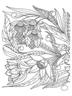 Coloring Poster Flowers Leafs Design Art By Anonymous 12x9in