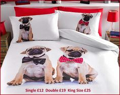 """#Pug Duvet Set   Cute and cuddly... Fun and fashionable """"on trend"""" and everyone's favourite cuddly canine on a stunning design.   Available in duvet sets (single with 1 pillowcase, double and king size with 2 pillowcases).    50% cotton/50% polyester.  Machine washable.  #Message me for more information. For more items you can visit my #facebook #group #Shop With Eve (#www.facebook.com/groups/ShopWithEve) x"""