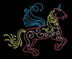 """Colorful Unicorns - KM"" Modern Embroidery, Embroidery Applique, Free Machine Embroidery Designs, Cow Print, Cross Stitch Charts, Small Flowers, Quilt Blocks, Needlepoint, Free Design"