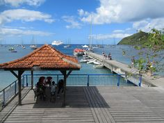 Boutique cruise ships land passengers on this wharf at Grande Anse d' Arlet, Martinique, Eastern Caribbean. Cruise Ships, Caribbean, Patio, Boutique, Outdoor Decor, Terrace