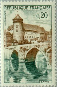 Issued in 1962, France - The castle and the bridge across the Mayenne