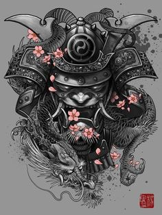 Dragon And Samurai Mask Tattoo Design