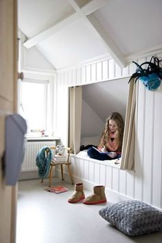 Charming Attic storage solutions uk,Attic bedroom design ideas and Attic renovation plans. Loft Room, Bedroom Loft, Girls Bedroom, Girl Rooms, Bedroom Ideas, Childs Bedroom, Bedroom Curtains, Trendy Bedroom, Modern Bedroom