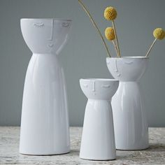 Hubsch Visage Vases - Medium: These quirky ceramic vases by Hubsch are just great, we love their different expressions!