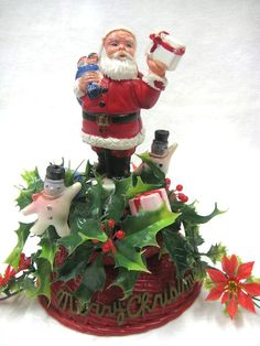 VINTAGE CHRISTMAS Plastic Santa and Snowmen by rosemarysgarden, $18.00