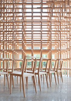 kengo kuma unveils furniture that blends into the surroundings at time & style amsterdam  www.designboom.com