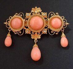 Antique coral brooch