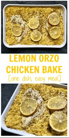 Lemon Orzo Chicken Bake is a one-dish meal full of bright lemon flavor and created with standard pantry staples you are sure to have on hand. Food Network Recipes, Gourmet Recipes, Cooking Recipes, Healthy Recipes, Healthy Meals, Baked Chicken, Chicken Recipes, Cracker Chicken, Pasta Recipes