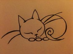 Cat tat by ~soralovingcatfreak on deviantART. Looks like my kitty sleeping, maybe I would have some stripes and spots. Trendy Tattoos, New Tattoos, Small Tattoos, Cat Outline, Tattoo Outline, Zentangle, Tatoo Henna, Kitty Tattoos, Cat Drawing