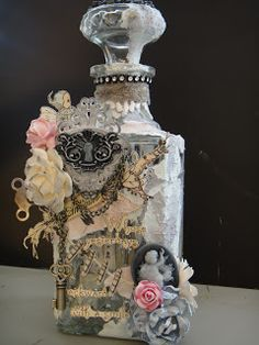Msliberty Creations: Mixed Media Altered Bottle and Wine Glass