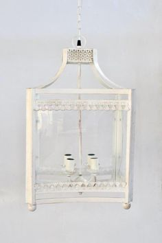White hanging lantern – Unique Wood
