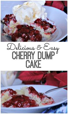 This warm and comforting cherry dump cake recipe gets its name from the easy prep, dumping everything into your pan and baking. It's easy and delicious. Serve with vanilla ice cream of homemade whipped cream.