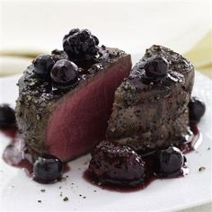Peppered Filet Mignon with Blackberry Sauce