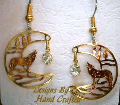 Copper CRESCENT MOON WOLF with CRYSTAL EARRINGS Nature Animal Lover Jewelry