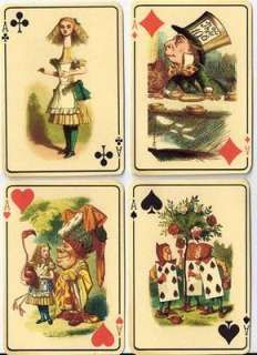 Vintage inspired Alice in Wonderland ivory playing cards tags ATC