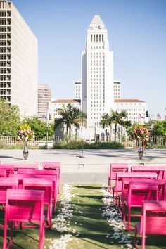 Modern downtown Los Angeles wedding ceremony | Wedding & Party Ideas | 100 Layer Cake