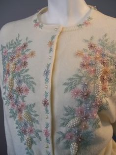 60's beaded cardigan...I love vintage cardigans so much.
