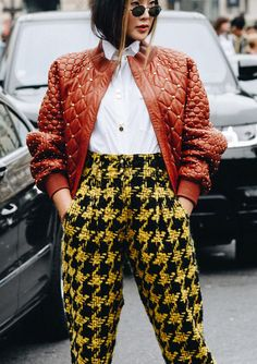 Kinda obsessed with this studded leather and houndstooth pairing.