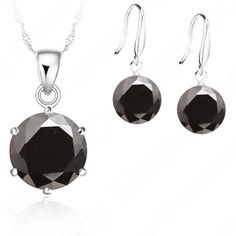 "Sterling Silver Cubic Zircon Set Shinny CZ necklace & earring set. Sterling silver stamped 925. Black color. Earrings 1"" necklace 18 1/2"" New! Jewelry"
