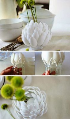 his post is aimed for you to make use of your plastic spoons in the most creative way possible. So, go on and check this incredible collection of DIY Amazing Plastic Spoon Crafts That Will Fascinate You. Plastic Spoon Crafts, Plastic Spoons, Plastic Vase, Diy Flowers, Flower Vases, Spoon Flower, Flower Ideas, Diy Projects To Try, Craft Projects