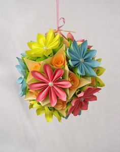 Origami paper ball Flower Kusudama by Waveoflight on Etsy,
