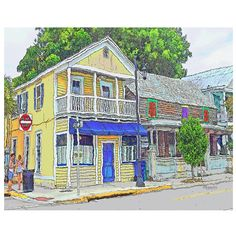 A street of colorful houses in Key West Florida sports one of unpainted wood with colorful painted shutters of greens, reds and purples. This is digital art titled House with Colorful Shutters based on an original photograph by Rebecca Korpita. On archival matte paper, print is offered in two sizes (see options above) and will come with a 1/2 - 1 inch white border for ease of matting and framing. 8x10 is also available on .75 inch stretched canvas and 16x20 is available on 1 1/2 inch deep…
