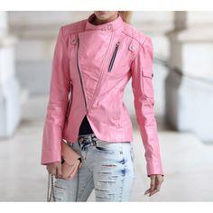 Women Pink Handmade Leather Jacket