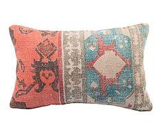 Cojín de rafia y lana Mosaico hecho a mano - 35x55 cm