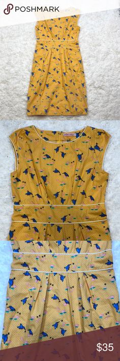 Trollied Dolly retro vintage inspired casual dress Fun bright sundress with polka dots and bird print. Unlined cap sleeves rear zip. Retro vintage inspired but totally now. Hipster mod sweet vibrant Modcloth Dresses